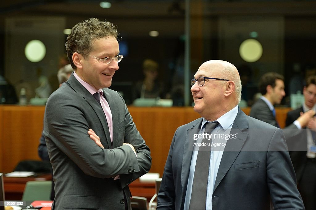 French Finance Minister <a gi-track='captionPersonalityLinkClicked' href=/galleries/search?phrase=Michel+Sapin&family=editorial&specificpeople=668944 ng-click='$event.stopPropagation()'>Michel Sapin</a> (R) and Netherlands' Finance Minister <a gi-track='captionPersonalityLinkClicked' href=/galleries/search?phrase=Jeroen+Dijsselbloem&family=editorial&specificpeople=9751962 ng-click='$event.stopPropagation()'>Jeroen Dijsselbloem</a> speak during European Economic and Financial Affairs (ECOFIN) meeting at the European Council in Brussels, on February 17, 2015.
