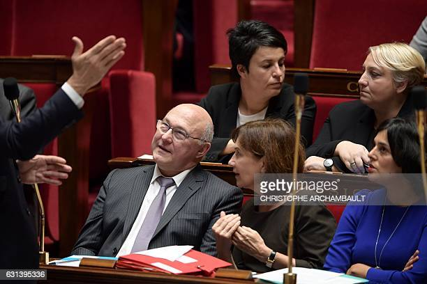 French Finance Minister Michel Sapin French Minister for Family Children and Women's Rights Laurence Rossignol and French Labour Minister Myriam El...