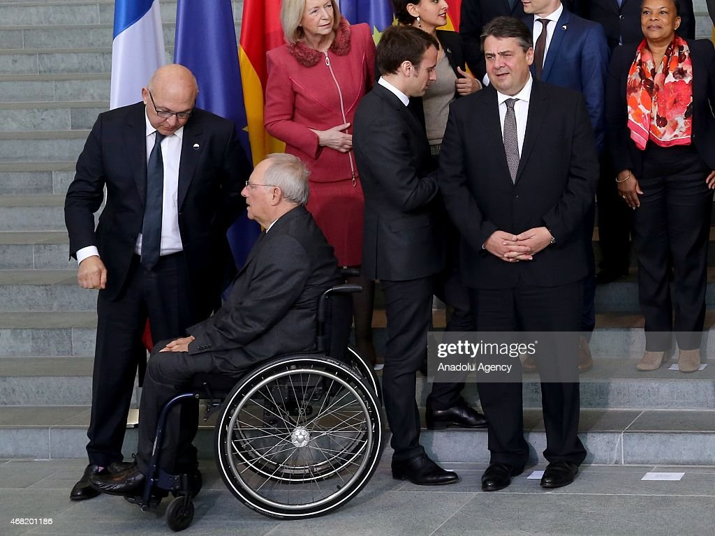 French Finance Minister Michel Sapin German Finance Minister Wolfgang Schaeuble German Economic Affairs and Energy Minister Sigmar Gabriel and French...