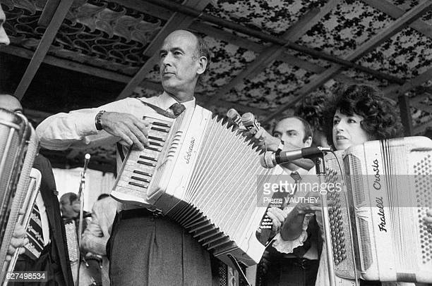 French Finance minister Valery Giscard D'Estaing plays accordion at the Second World Accordion Festival in Montmorency After being invited as a...