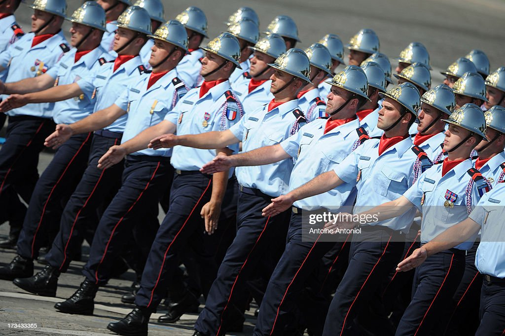 French fire fighters parade during the Bastille Day parade on the Champs Elysees on July 14, 2013 in Paris, France. The annual military ceremony is the largest in Europe remembering the 'Fete de la Federation' for 1790.