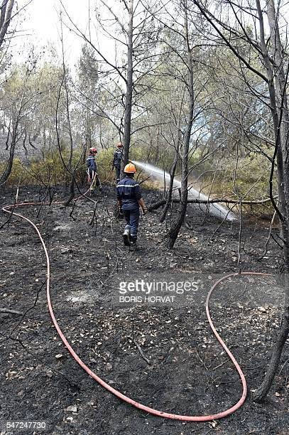 A French firefighters men extinguish a fire that devastated some 150 hectares due to strong winds in ChateauneuflesMartigues southeastern France on...