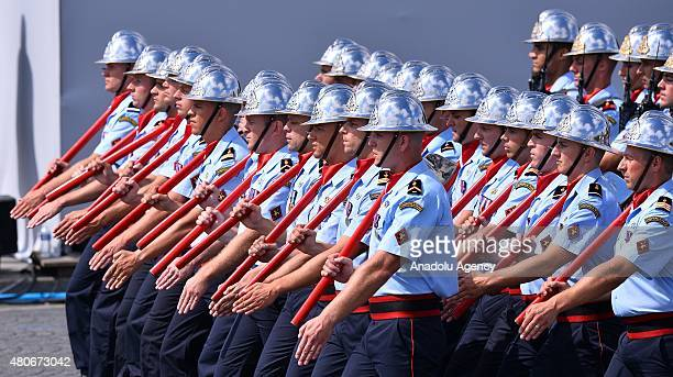 French firemen march during annual Bastille Day military parade in the Republic Day on the Champs Elysees in Paris France on July 14 2015 Mexican...