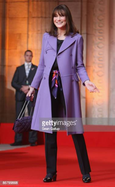 French First Lady Carla BruniSarkozy waits for the arrival of US First Lady Michelle Obama at Rohan Palace on April 4 2009 in Strasbourg France The...