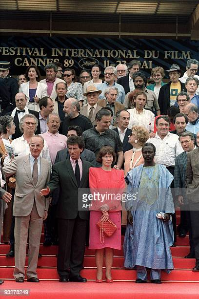 French first lady chairwoman of France Libertes Foundation Danielle Mitterrand Minister of culture Jack Lang Malian film director Soleymane Cisse...