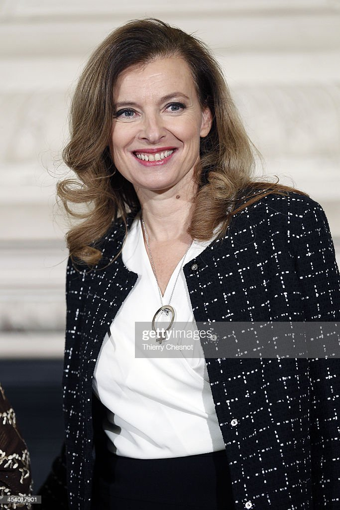 French first lady <a gi-track='captionPersonalityLinkClicked' href=/galleries/search?phrase=Valerie+Trierweiler&family=editorial&specificpeople=8534231 ng-click='$event.stopPropagation()'>Valerie Trierweiler</a> attends a meeting with African first ladies about violence against women in Africa at Orsay Museum on December 6, 2013 in Paris, France. The meeting dubbed 'The Mobilisation against sexual violence towards women in conflict' attended by the first ladies of African nations, held alongside the Summit for Peace and Security in Africa.