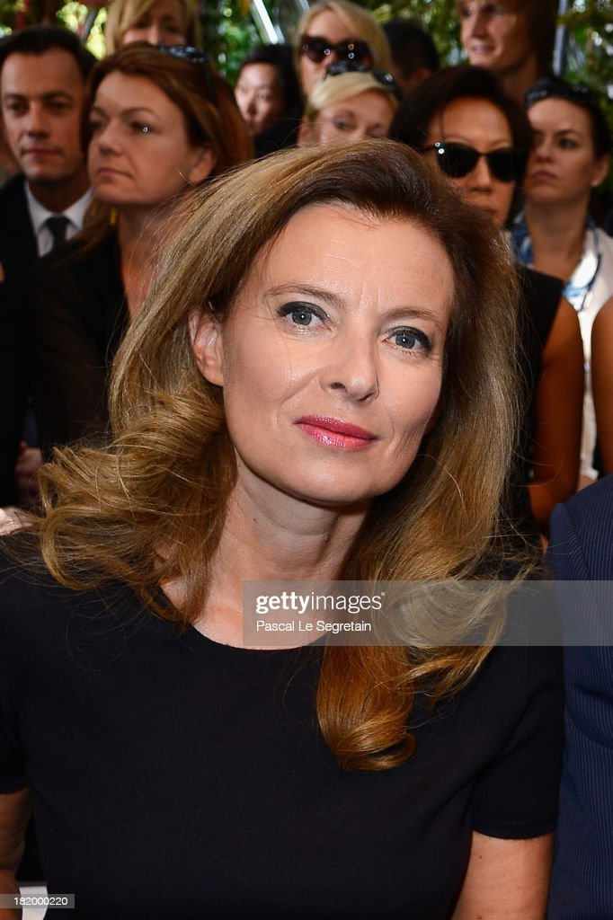 French First Lady <a gi-track='captionPersonalityLinkClicked' href=/galleries/search?phrase=Valerie+Trierweiler&family=editorial&specificpeople=8534231 ng-click='$event.stopPropagation()'>Valerie Trierweiler</a> attends the Christian Dior show as part of the Paris Fashion Week Womenswear Spring/Summer 2014 at Musee Rodin on September 27, 2013 in Paris, France.