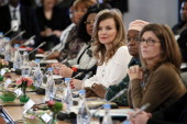 French first lady Valerie Trierweiler Special Representative of the United Nations Secretary General on Sexual Violence in Conflict Zainab Hawa...