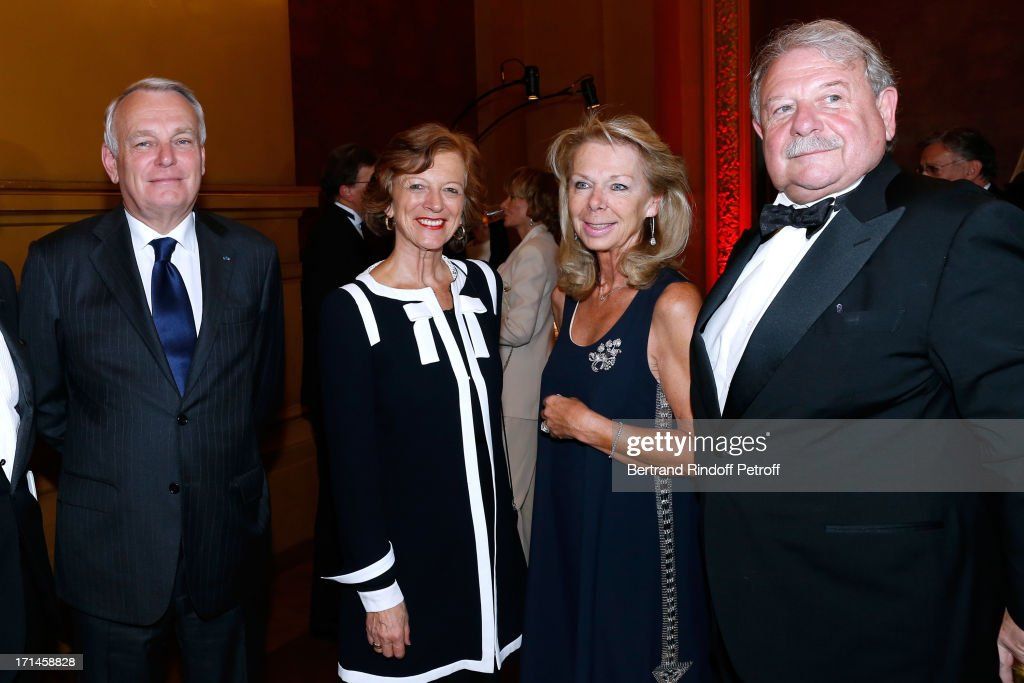 French first minister Jean-Marc Ayrault with his wife Brigitte and President of Honor of the Gala Comity Miss Anthony-Emmanuel Bechu with her husband Anthony-Emmanuel Bechu attend Gala of AROP at Opera Garnier with representation of 'La Sylphide' on June 24, 2013 in Paris, France.
