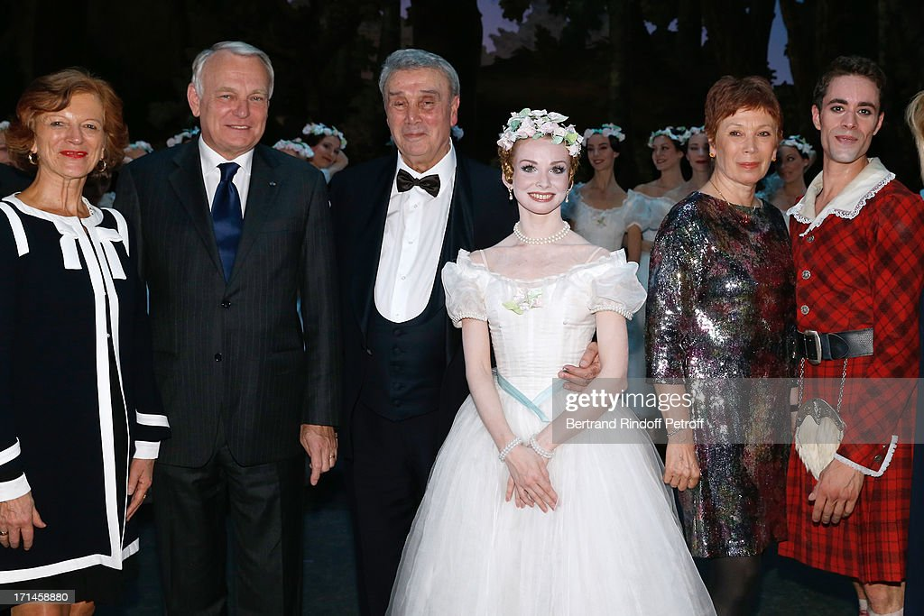 French first minister <a gi-track='captionPersonalityLinkClicked' href=/galleries/search?phrase=Jean-Marc+Ayrault&family=editorial&specificpeople=551961 ng-click='$event.stopPropagation()'>Jean-Marc Ayrault</a> with his wife Brigitte, Choreographer Pierre Lacotte, honored in this gala, Main Dancer of Bolchoi Evgenia Obrastzova, Director of School Dance of Opera de Paris Elisabeth Platel and Dancer Mathias Heymann on stage at Gala of AROP at Opera Garnier with representation of 'La Sylphide' on June 24, 2013 in Paris, France.
