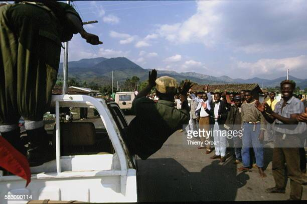 A French flag flies from a vehicle of the Rwandan forces At this moment Rwandan soldiers were persuaded that the French had come to support the Hutu...