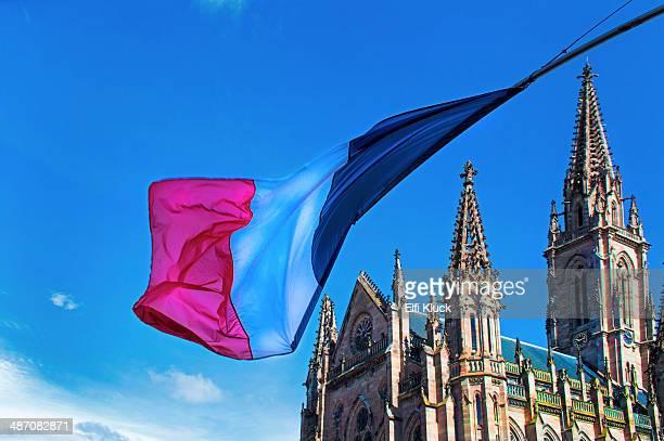 French flag frames St. Stephen's Church
