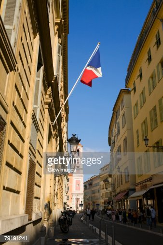 French flag on a building, Nice, France : Stock Photo