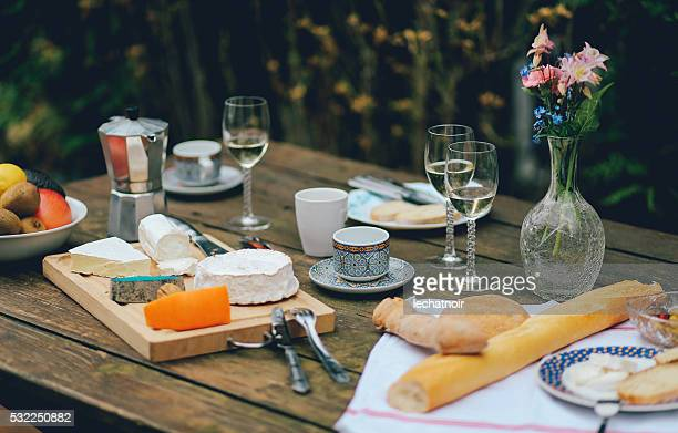 French food on the wooden table