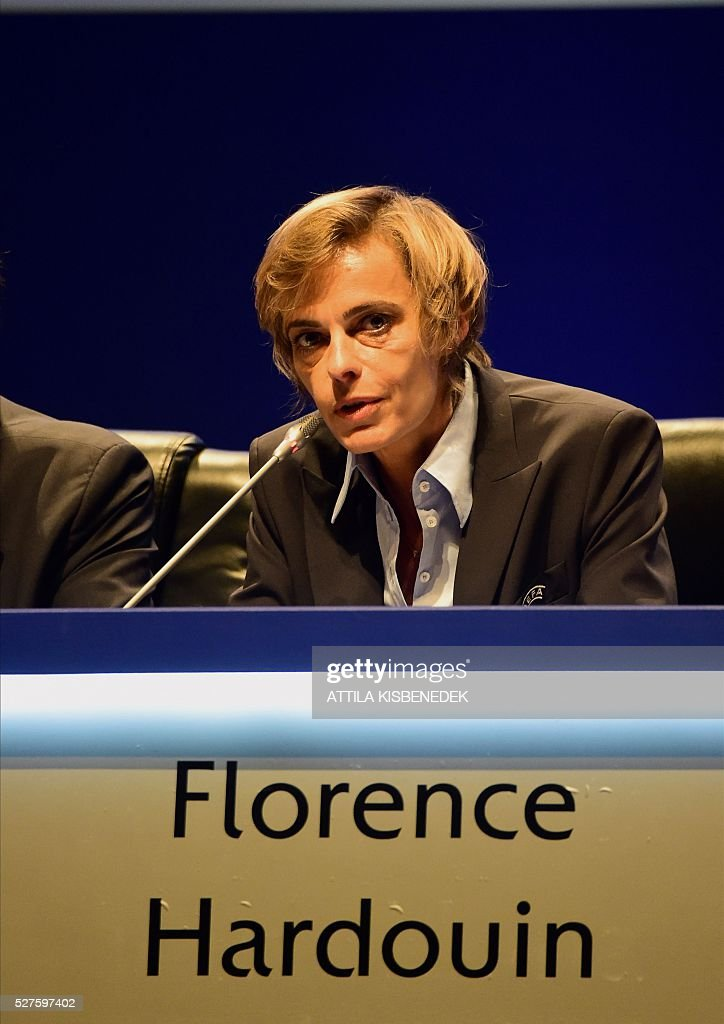 French Football Federation (FFF) director general, Florence Hardouin, informs the press about her admission in UEFAs Executive Committee, after the 40th Ordinary UEFA Congress in Hungexpo Fair Center of Budapest on May 3, 2016. UEFA elected Hardouin as its first female executive member in a landmark vote. / AFP / ATTILA