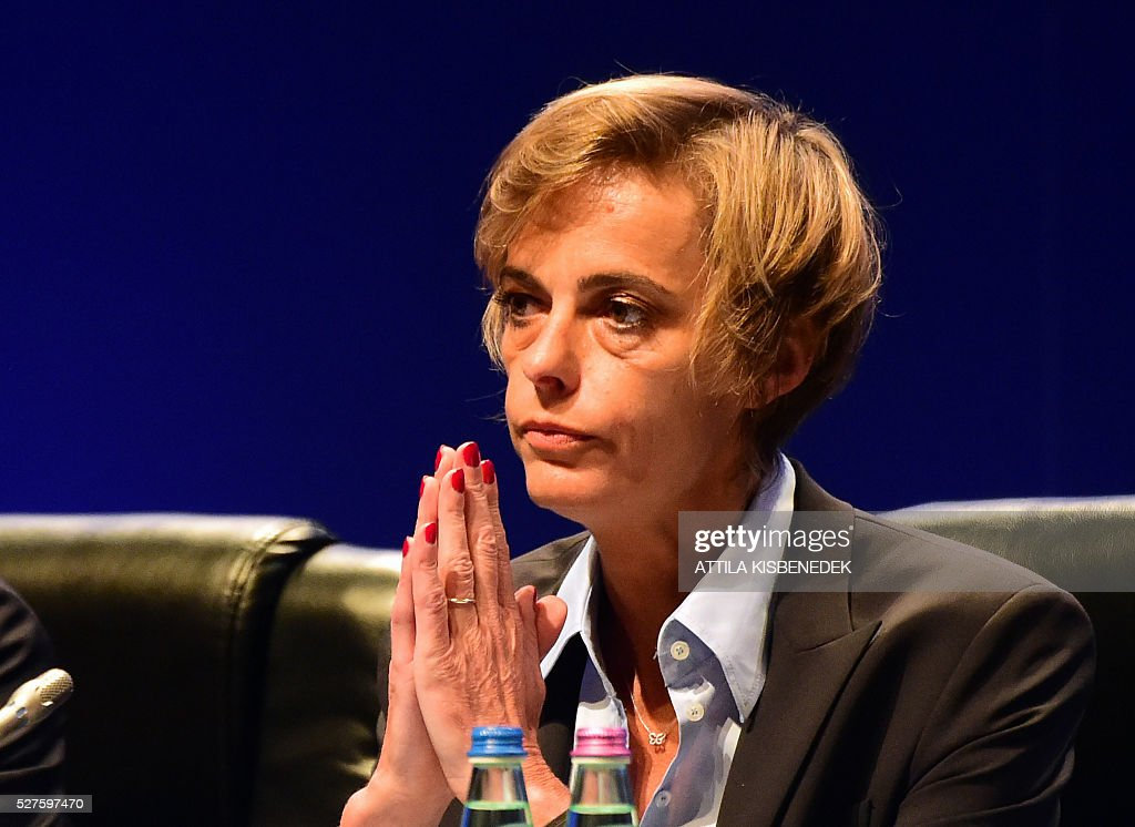 French Football Federation (FFF) director general, Florence Hardouin, reacts during the press conference after her admission in UEFAs Executive Committee, at the 40th Ordinary UEFA Congress in Hungexpo Fair Center of Budapest on May 3, 2016. UEFA elected Hardouin as its first female executive member in a landmark vote. / AFP / ATTILA