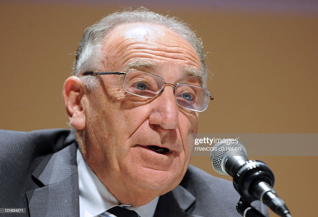 French Football Federation (FFF) president Jean-Pierre Escalettes delivers a speech during a meeting of the FFF's federal assembly in the French northern city of Lille on May 29, 2010. 'I am overwhelmed to think that France will welcome European football in 2016', Escalettes said yesterday as UEFA's executive committee members chose France to host Euro 2016.