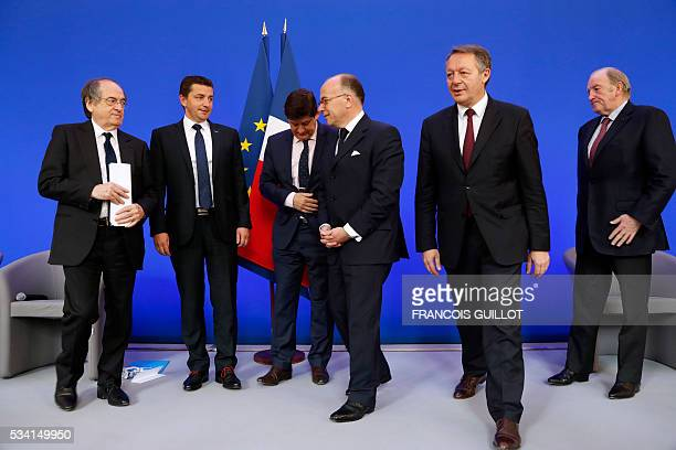French Football Federation president Noel Le Graet SaintEtienne's mayor Noel Perdriau French minister for Cities Youth and Sport Patrick Kanner...