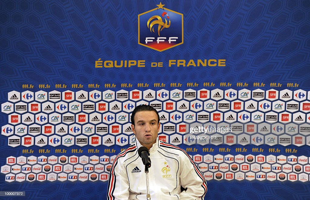 French football forward Mathieu Valbuena speaks during a press conference in Tignes in the French Alps on May 18, 2010. The French team started in Tignes its preparation for the upcoming FIFA 2010 World Cup. France will play Uruguay in Capetown in its group A opener match on June 11.