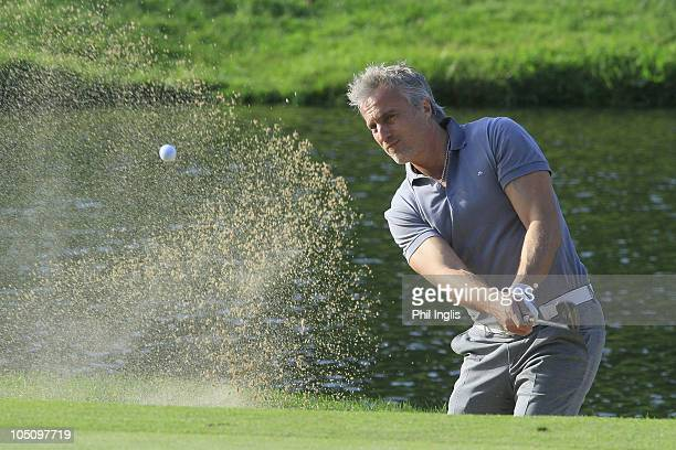 French football legend David Ginola in action during the first round of the Cannes Mougins Masters played at Golf Country Club de Cannes Mougins on...