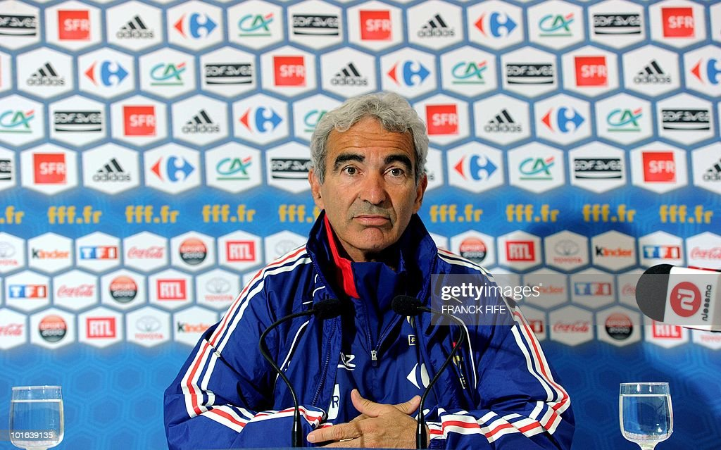 French football national team coach Raymond Domenech gives a press conference before a training session, on May 29, 2010, in Sousse, as part of the preparation for the upcoming World Cup 2010. France will play against Uruguay in Capetown in its group A opener match on June 11.