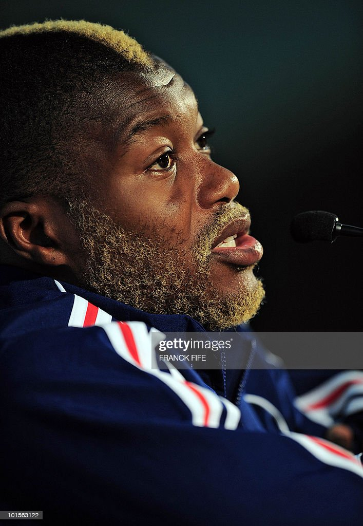 French football national team forward Djibril Cisse delivers a speech during a press conference, on June 2, 2010 at the Michel Volnay stadium in Saint-Pierre, on the French Indian Ocean island of La Reunion. Cisse says his side will be motivated by the desire to silence their critics when they embark upon their World Cup campaign on June 11.