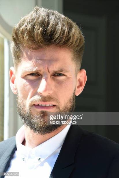 French football player Benoit Costil the former goalkeeper for Rennes football club poses for a photograph after signing to play for Girondins de...
