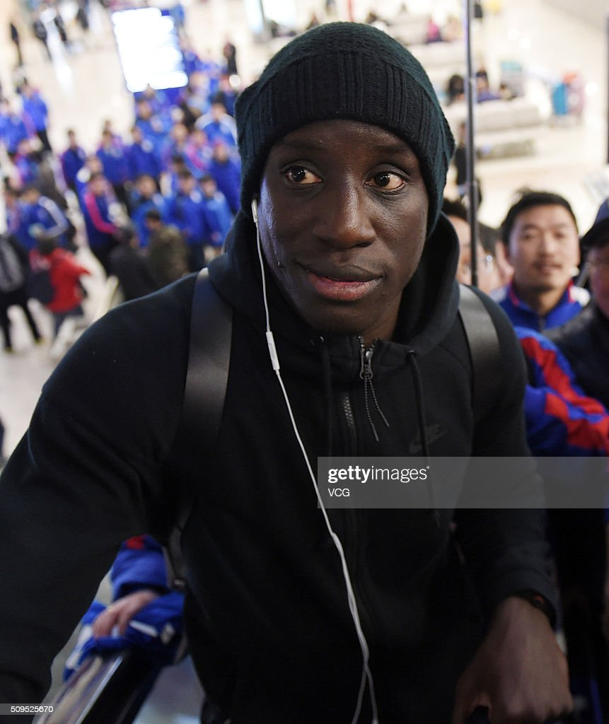 French football player <a gi-track='captionPersonalityLinkClicked' href=/galleries/search?phrase=Demba+Ba&family=editorial&specificpeople=4510297 ng-click='$event.stopPropagation()'>Demba Ba</a> of Shanghai Shenhua club arrives at the airport on February 11, 2016 in Shanghai, China.