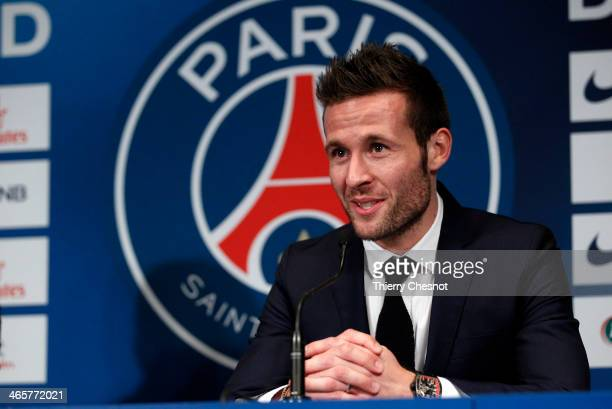 French football player Yohan Cabaye speaks to the media during a press conference after completing a transfer from Newcastle United to Paris St...