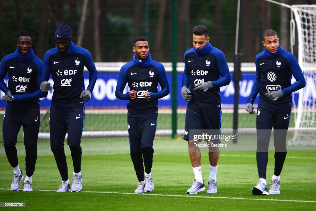 French Football Team (L-R) Benjamin Mendy, Tiemoue Bakayoko, Thomas Lemar, Corentin Tolisso Kylian Mbappe during the training session on March 20, 2017 in Clairefontaine, France. The training session comes before the upcoming qualifying match against Luxembourg next saturday for the 2018 World Cup.
