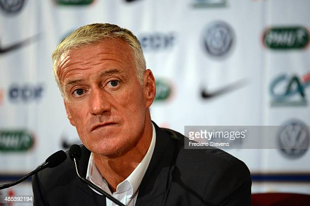 French football team coach Didier Deschamps gives a press conference to announce the names of the players selected for the friendly football match...