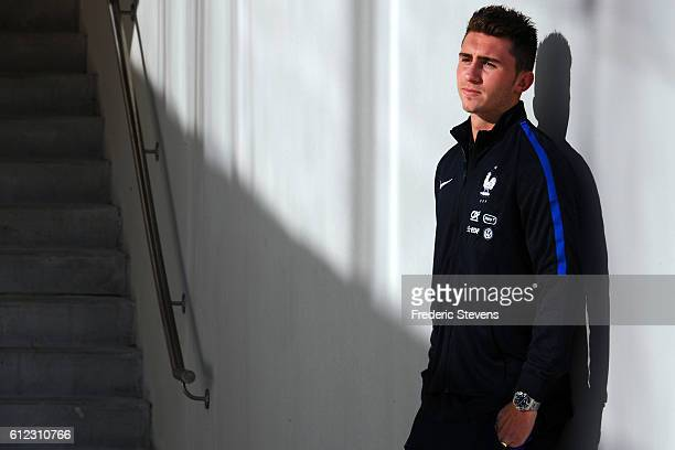 French Football Team defender Aymeric Laporte arrives for the press conference before the training session on October 3 2016 in Clairefontaine France...
