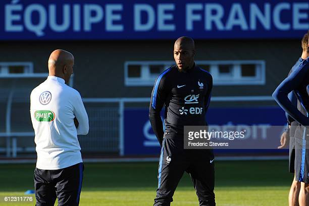 French Football Team defender Djibril Sidebe during the training session on October 3 2016 in Clairefontaine France The first training ahead of the...