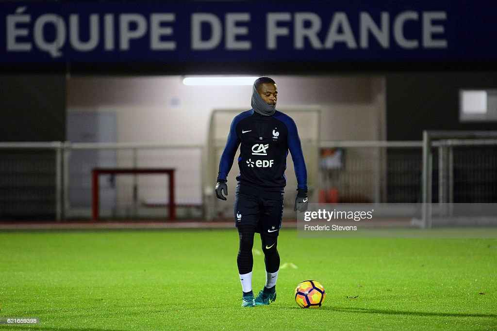 French Football Team defender Patrice Evra during the training session on November 7, 2016 in Clairefontaine, France. The first training ahead of the team upcoming qualifying match next friday against Sweden for the 2018 World Cup.