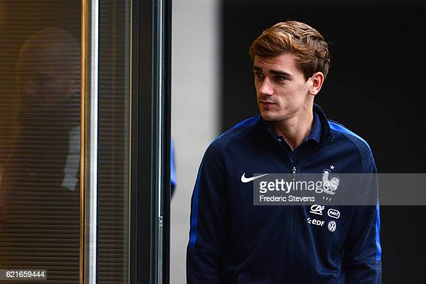 French Football Team forward Antoine Griezmann arrives for a press conference before the training session on November 7 2016 in Clairefontaine France...