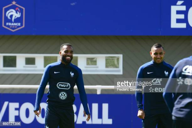 French Football Team forward Dimitri Payet and Alexandre Lacazette during the training session on June 6 2017 in Clairefontaine France The training...