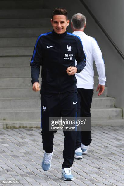 French Football Team forward Florian Thauvin arrives for the press conference before the training session on March 20 2017 in Clairefontaine France...