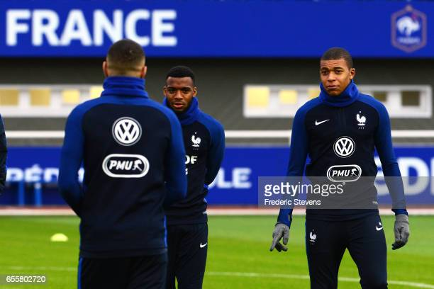French Football Team forward Kylian Mbappe and midfielder Thomas Lemar during the training session on March 20 2017 in Clairefontaine France The...