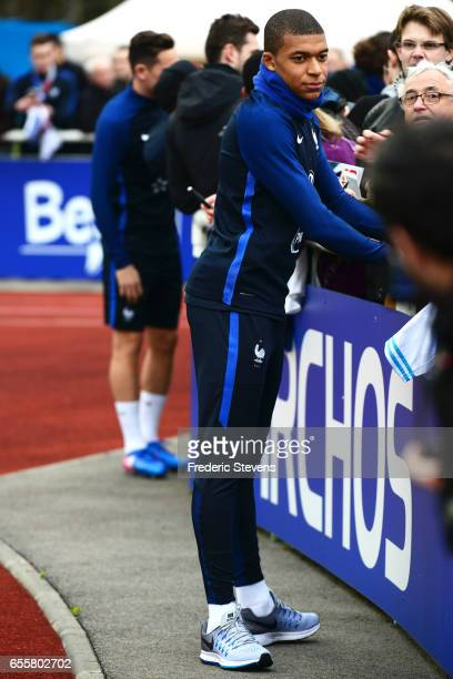 French Football Team forward Kylian Mbappe during the training session on March 20 2017 in Clairefontaine France The training session comes before...