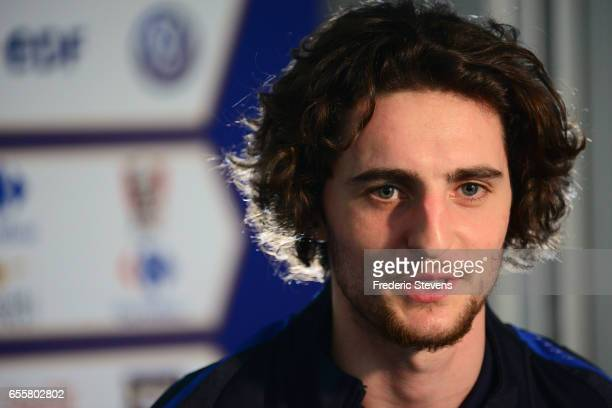 French Football Team midfielder Adrien Rabiot during the press conference before the training session on March 20 2017 in Clairefontaine France The...