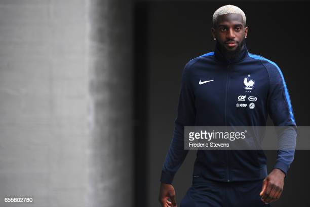 French Football Team midfielder Tiemoue Bakayoko arrives for the press conference before the training session on March 20 2017 in Clairefontaine...