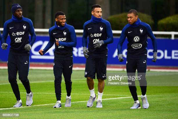French Football Team Tiemoue Bakayoko Thomas Lemar Corentin Tolisso Kylian Mbappe during the training session on March 20 2017 in Clairefontaine...