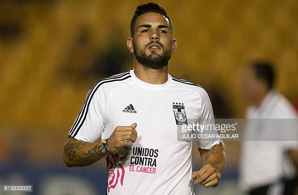 French footballer Andy Delort of Mexico's Tigres warms up before the start of the CONCACAF Champions League football match against Costa Rica's...