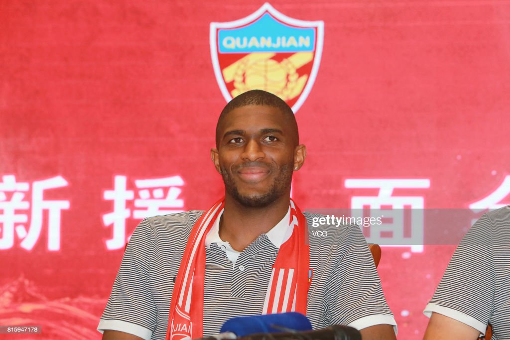 French footballer Anthony Modeste attends a press conference of Tianjin Quanjian FC on July 17, 2017 in Tianjin, China. Anthony Modeste plays for Tianjin Quanjian in the 2017 Chinese Super League (CSL) matches.