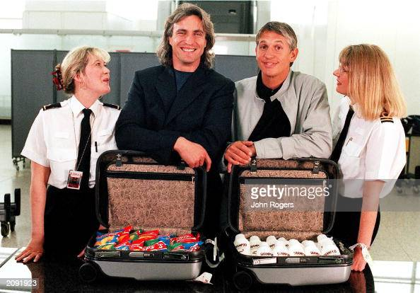 French footballer David Ginola and England football legend Gary Lineker now a BBC TV Sports presenter join forces to parody their own commericals in...