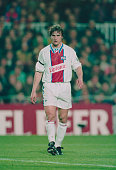 French footballer David Ginola of Paris Saint Germain during a match against Barcelona 1st March 1995