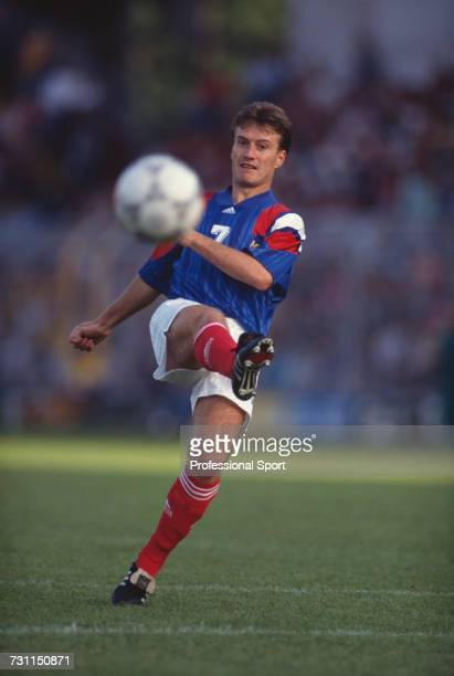 French footballer Didier Deschamps pictured in action on the pitch during the group 1 match between Sweden and France in the UEFA Euro 1992...