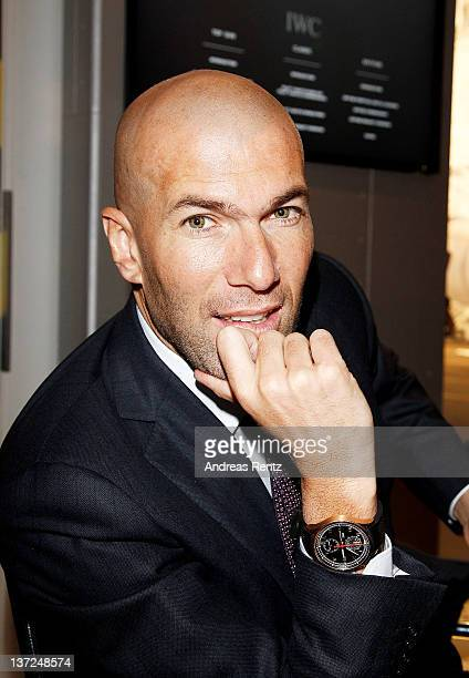 French footballer Zinedine Zidane visits the IWC Schaffhausen booth during the 22nd SIHH High Jewellery Fair at the Palexpo Exhibition Hall on...