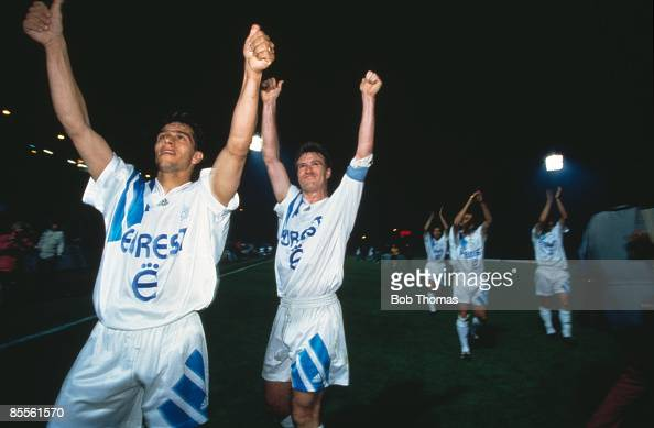 French footballers JeanJacques Eydelie and Didier Deschamps celebrate a 01 victory after a match between Valenciennes and Olympique de Marseille 1993