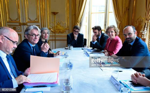 French Force Ouvriere labour union General Secretary JeanClaude Mailly and federal secretary Michel Beaugas attend a meeting with French Prime...